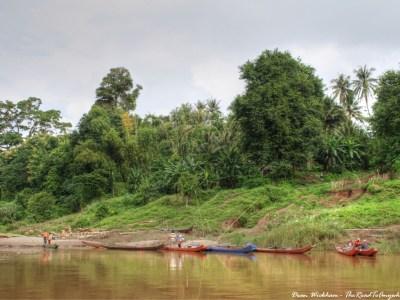 Boats at the banks of the Mekong River, Laos
