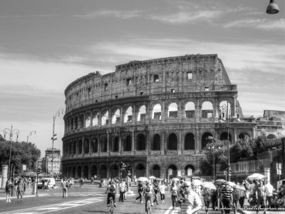 Black and white photo of the Colosseum in Rome, Italy