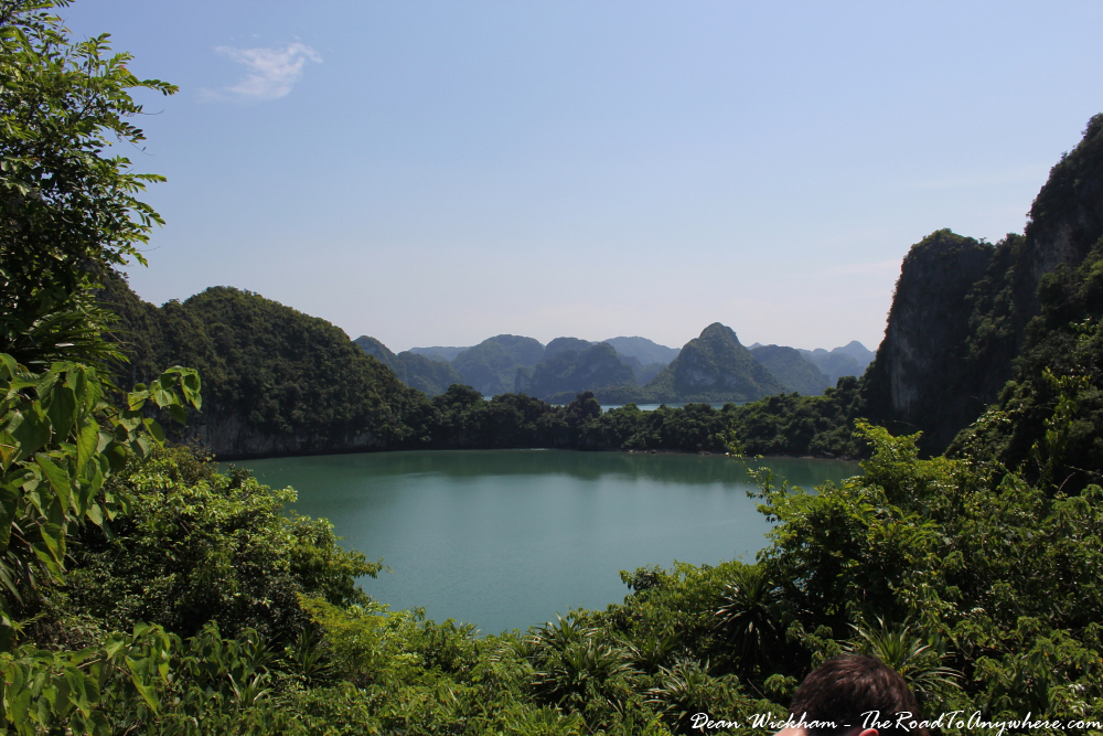 View of a hidden lagoon in Halong Bay, Vietnam