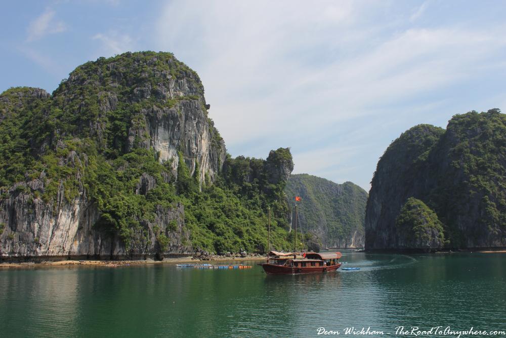 A boat cruising around in Han La Bay, Vietnam