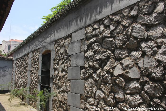 Stone wall in Hoa Lo Prison in Hanoi, Vietnam