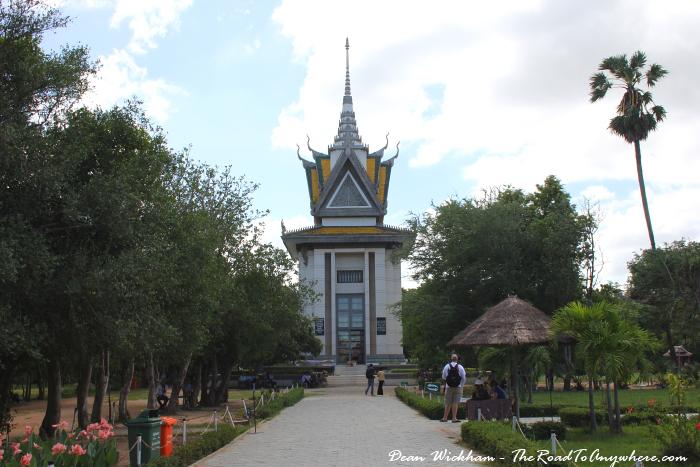 Memorial Stupa at the Choeung Ek Killing Fields in Phnom Penh, Cambodia
