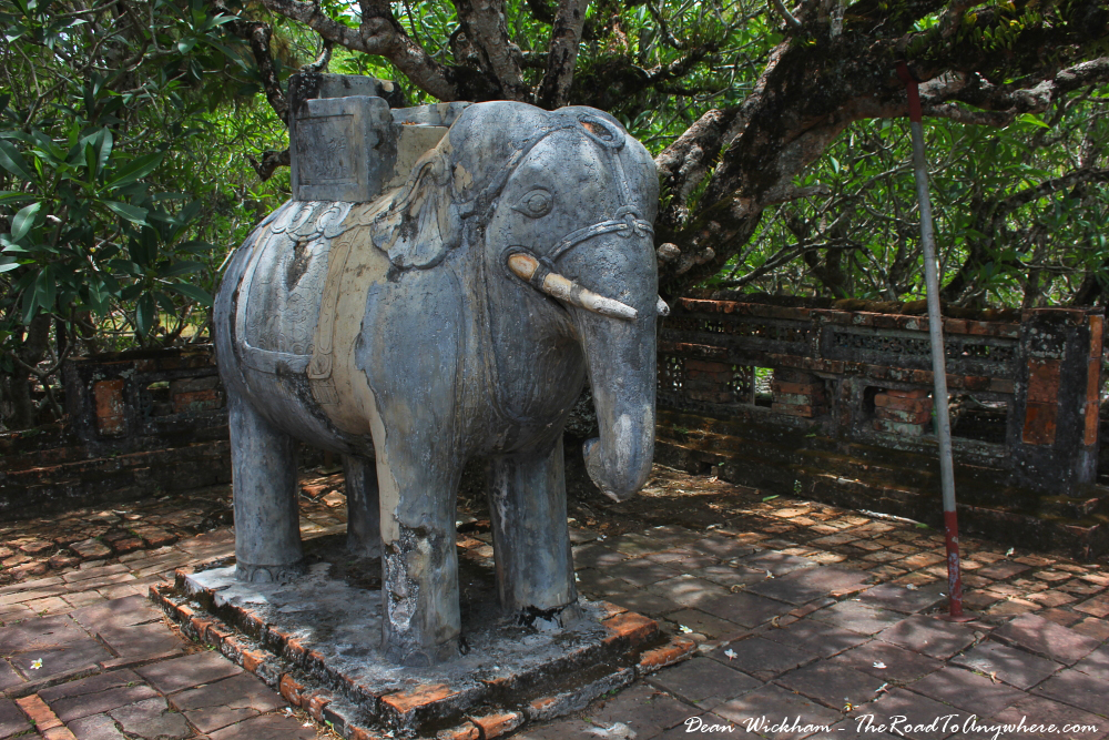 Elephant statue at Tu Doc Tomb in Hue, Vietnam