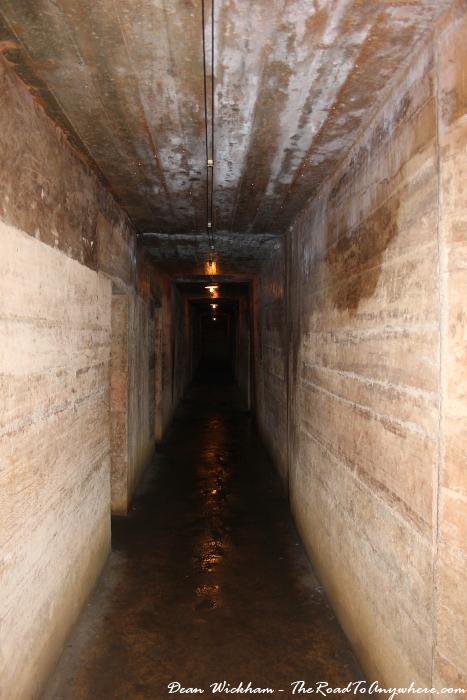 Hallway inside the hospital cave on Cat Ba Island, Vietnam