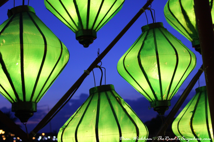 Green lanterns on the footbridge in Hoi An, Vietnam