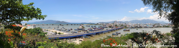 Panoramic view of the harbour from Po Nagar in Nha Trang, Vietnam