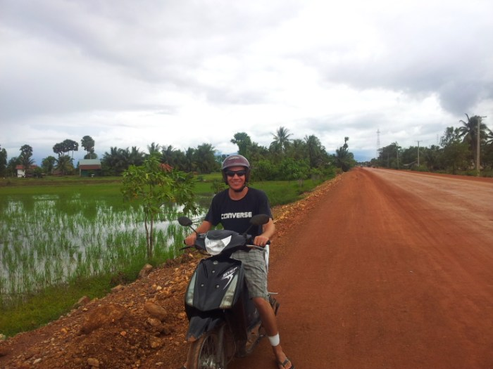 Riding a scooter from Kampot to Kep, Cambodia