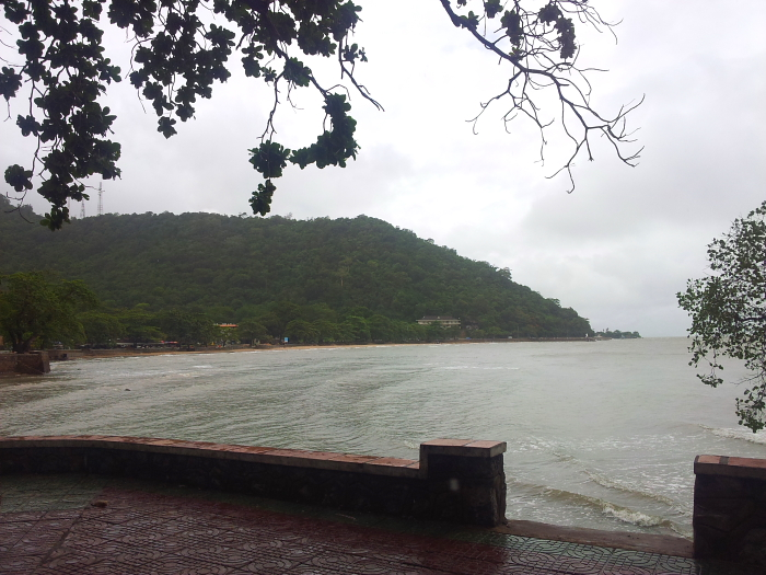 Beach on a rainy day in Kep, Cambodia