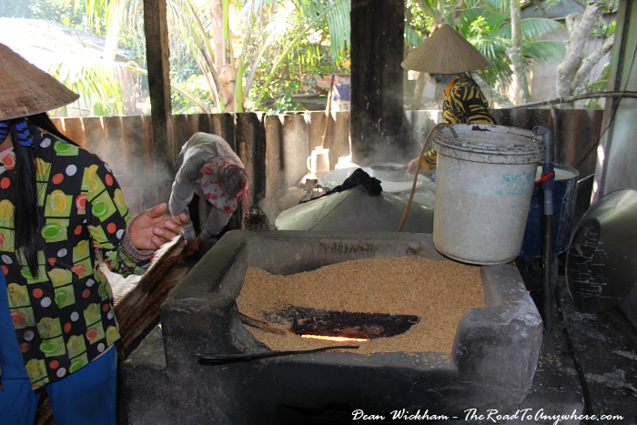 Making rice noodles at a rice noodle factory in the Mekong Delta, Vietnam