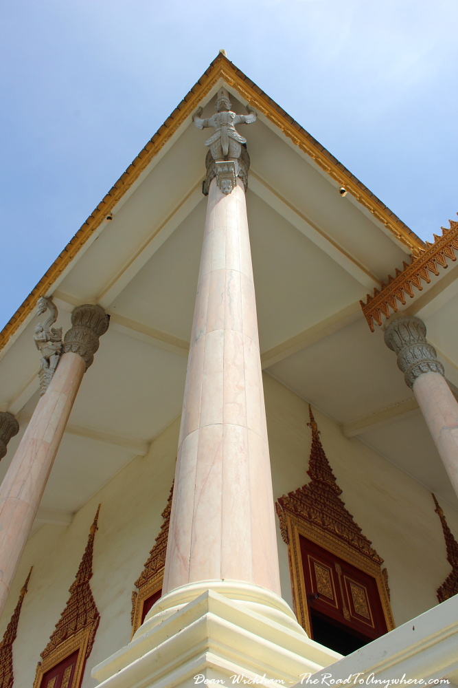 A column on the Silver Pagoda in the Royal Palace in Phnom Penh, Cambodia