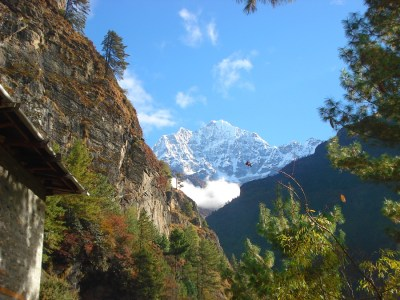 Snow Capped Mountain View from the Dudh Kosi Valley in Nepal