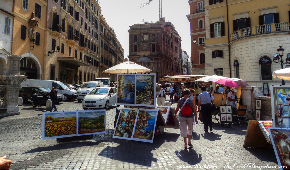 Art for sale in Piazza Trinita dei Monti in Rome, Italy