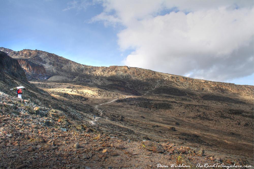Trail across an alpine desert on Mount Kilimanjaro, Tanzania