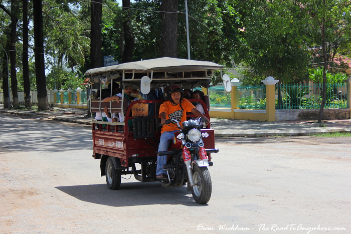 A Tuk Tuk full of school kids in Battambang, Cambodia