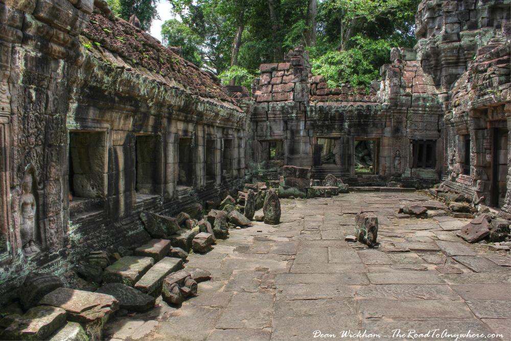 Inside a courtyard at Preah Khan in Angkor, Cambodia