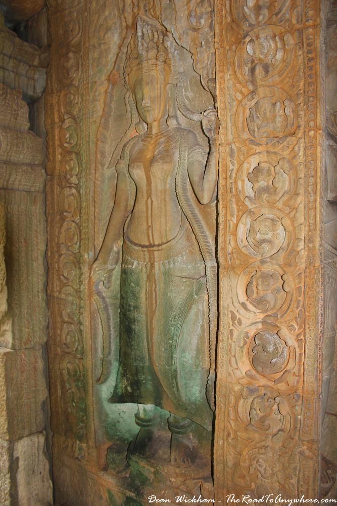 Beautifully preserved carving at Preah Khan in Angkor, Cambodia
