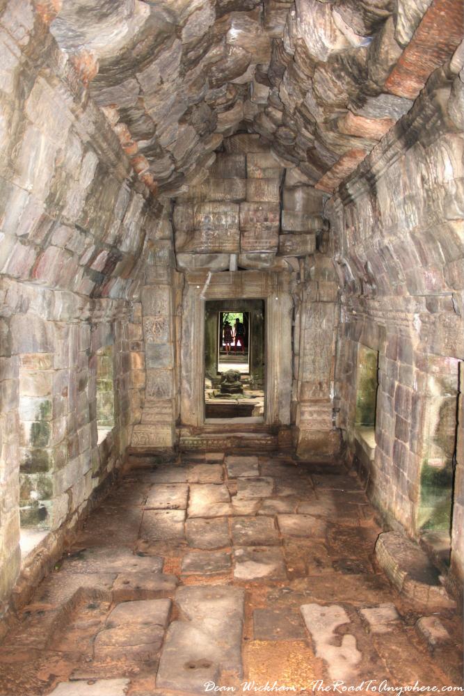 Ancient stone hallway at Preah Khan in Angkor, Cambodia
