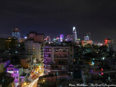 View of Saigon's skyline at night in Saigon, Vietnam