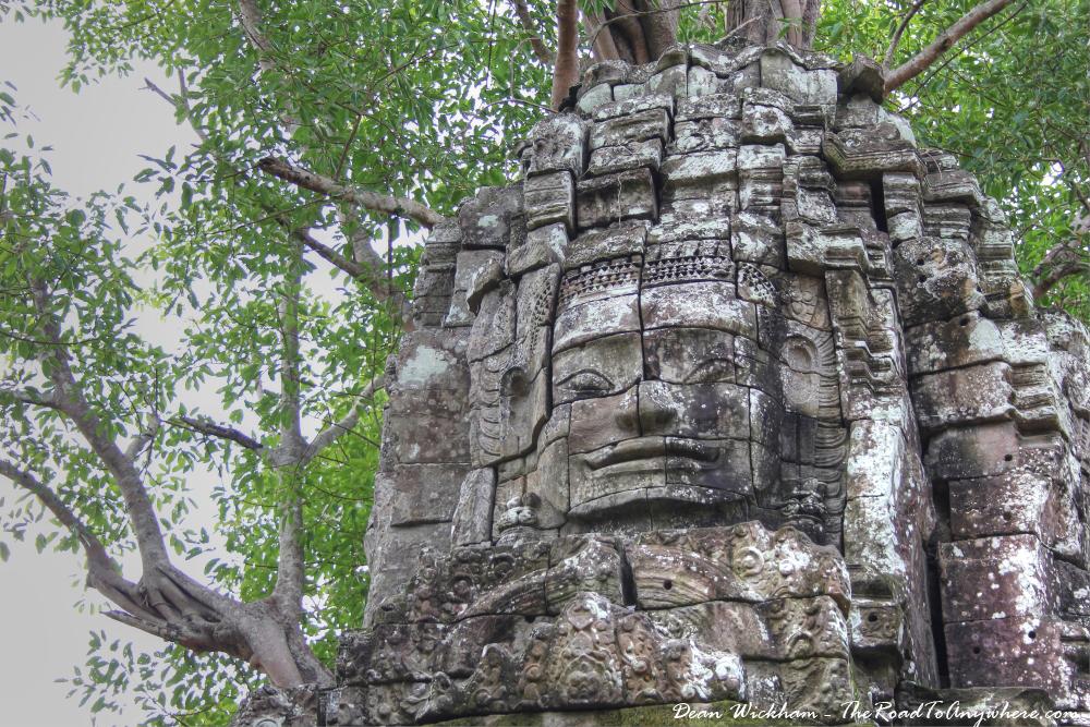 Ancient stone face at Ta Som in Angkor, Cambodia