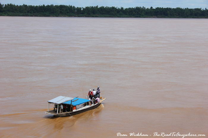 Boat on the Mekong River in Kratie, Cambodia