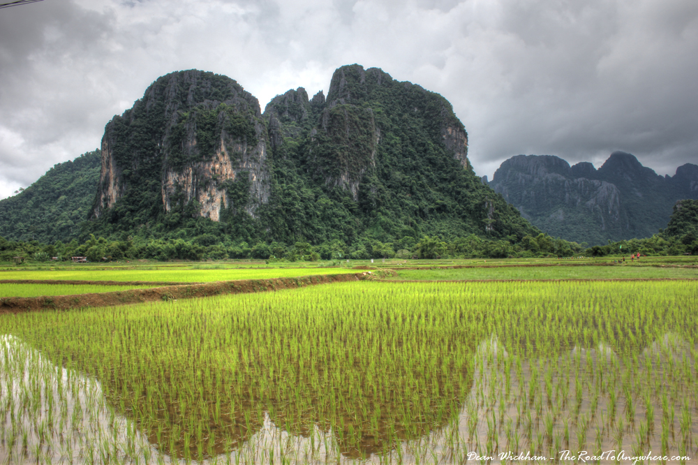 Rice fields and mountains in Vang Vieng, Laos