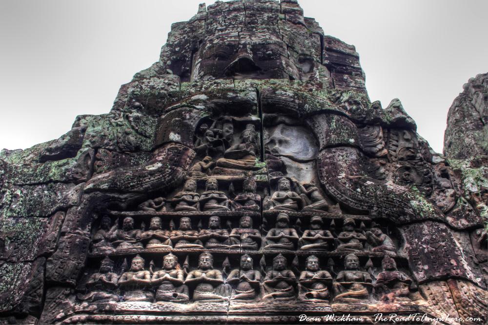 Stone carvings at Bayon in Angkor Thom, Cambodia