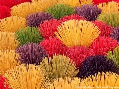 Incense sticks drying in the sun near Hue, Vietnam