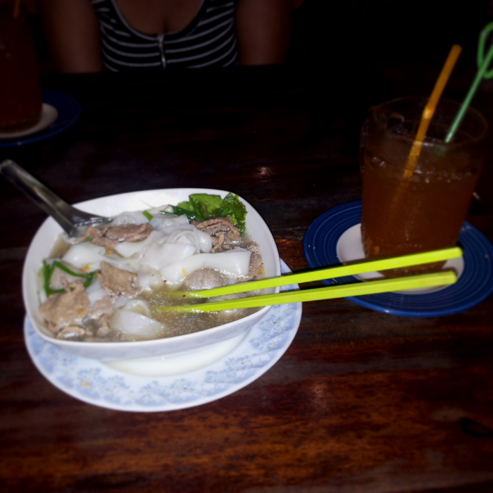 Thick beef noodle soup in Battambang, Cambodia