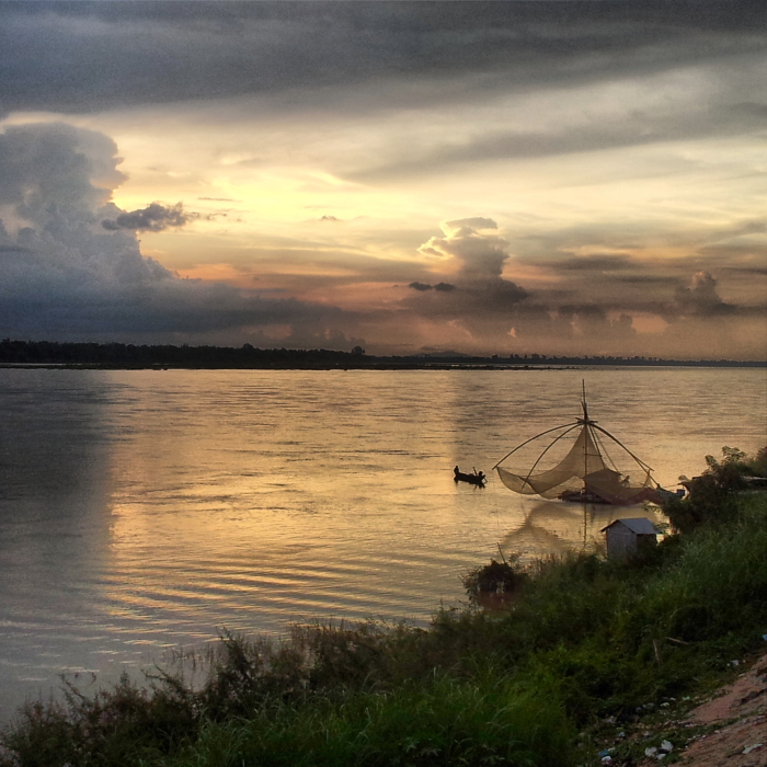 Sunset on the Mekong River in Kratie, Cambodia