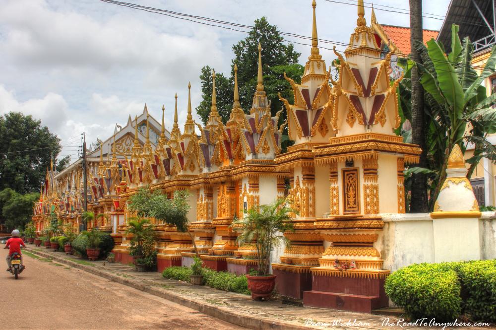 Chedis at a temple in Savannakhet, Laos