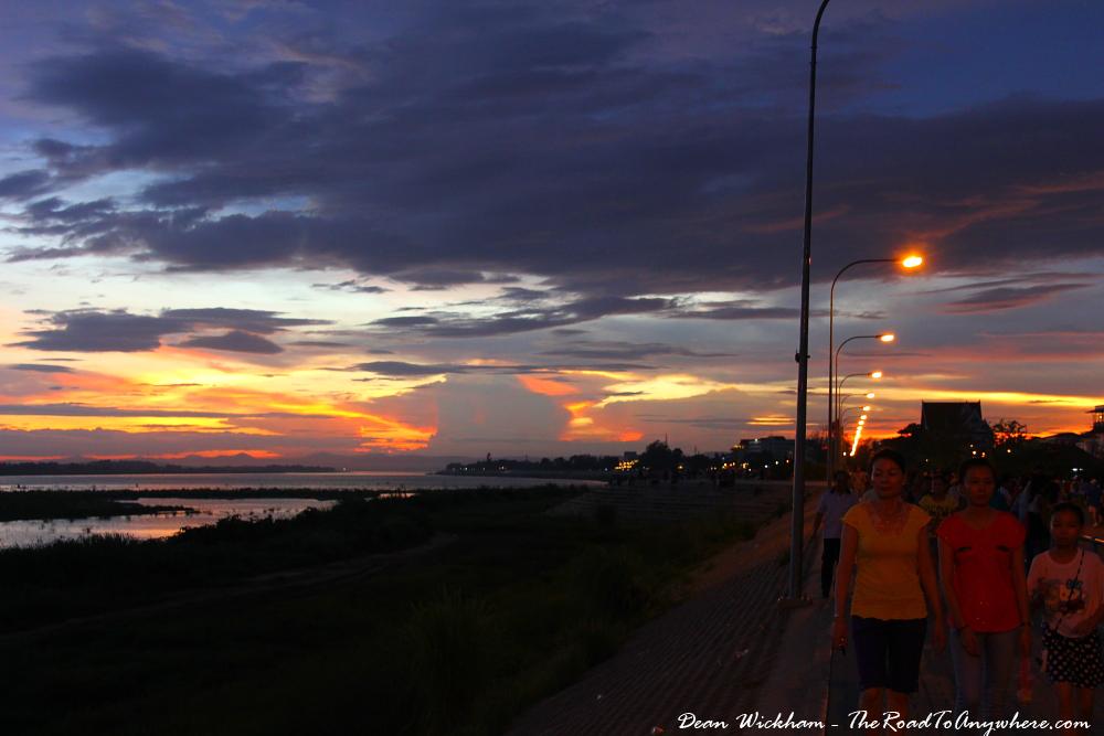 Glowing horizon at sunset in Vientiane, Laos