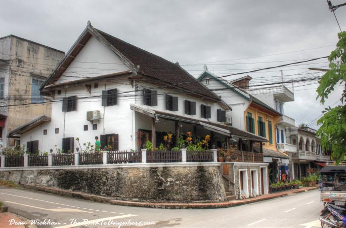 Picturesque street corner in Luang Prabang, Laos