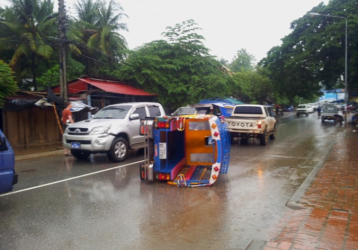 Our tuk tuk after an accident in Luang Prabang, Laos