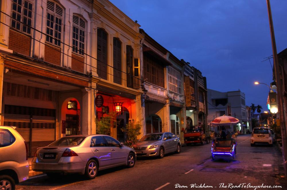 Trishaw at night in Chinatown, Penang, Malaysia