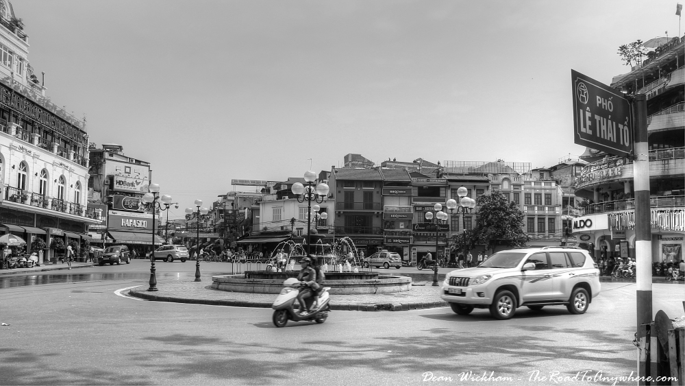 Roundabout in Downtown Hanoi, Vietnam