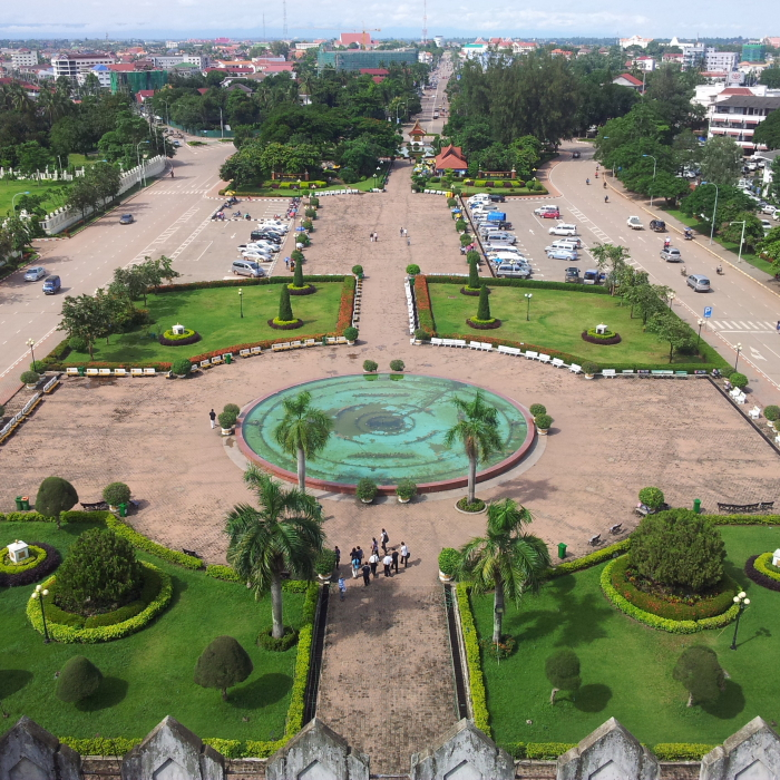 View from the top of Patuxai in Vientiane, Laos