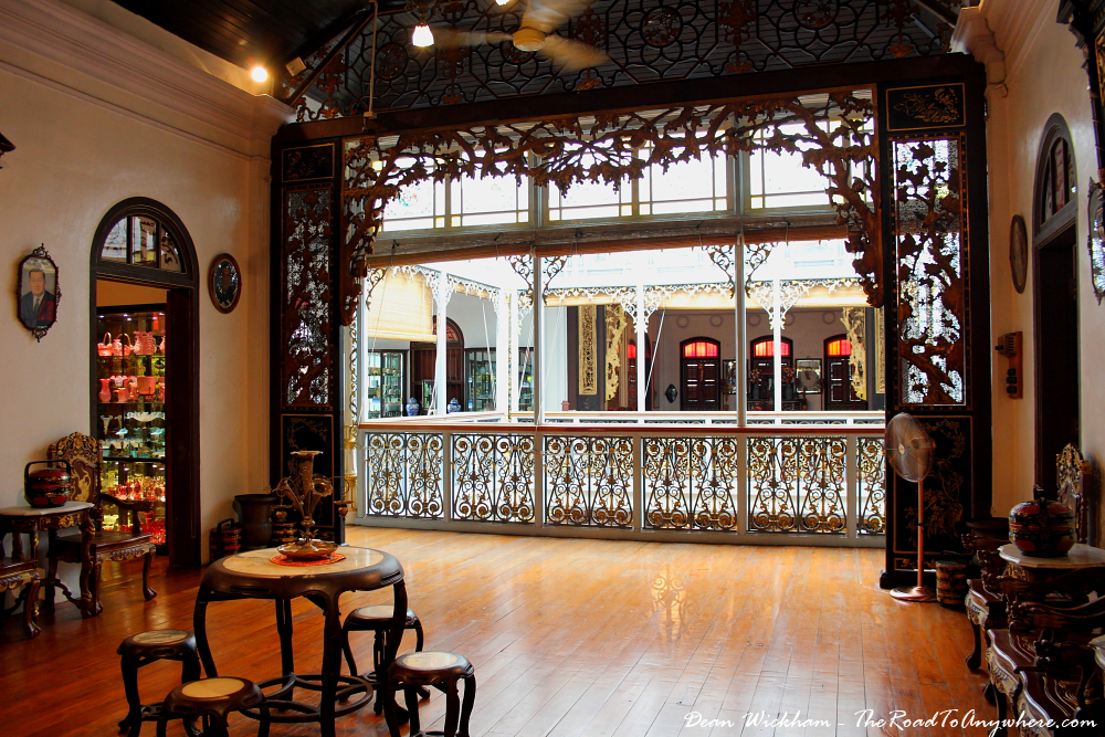 View to the balcony on the second floor of Pinang Peranakan Mansion in George Town, Malaysia