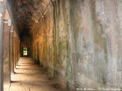 Ancient Stone Hallway at Ta Phrom in Angkor, Cambodia