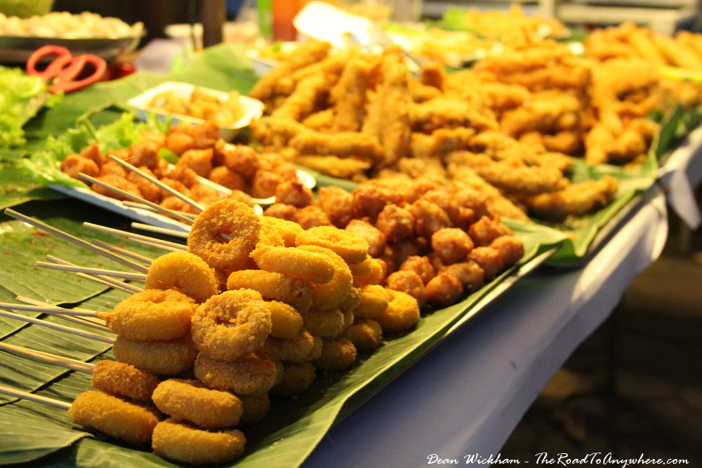 Fried street food snacks at the Sunday Market in Chiang Mai, Thailand