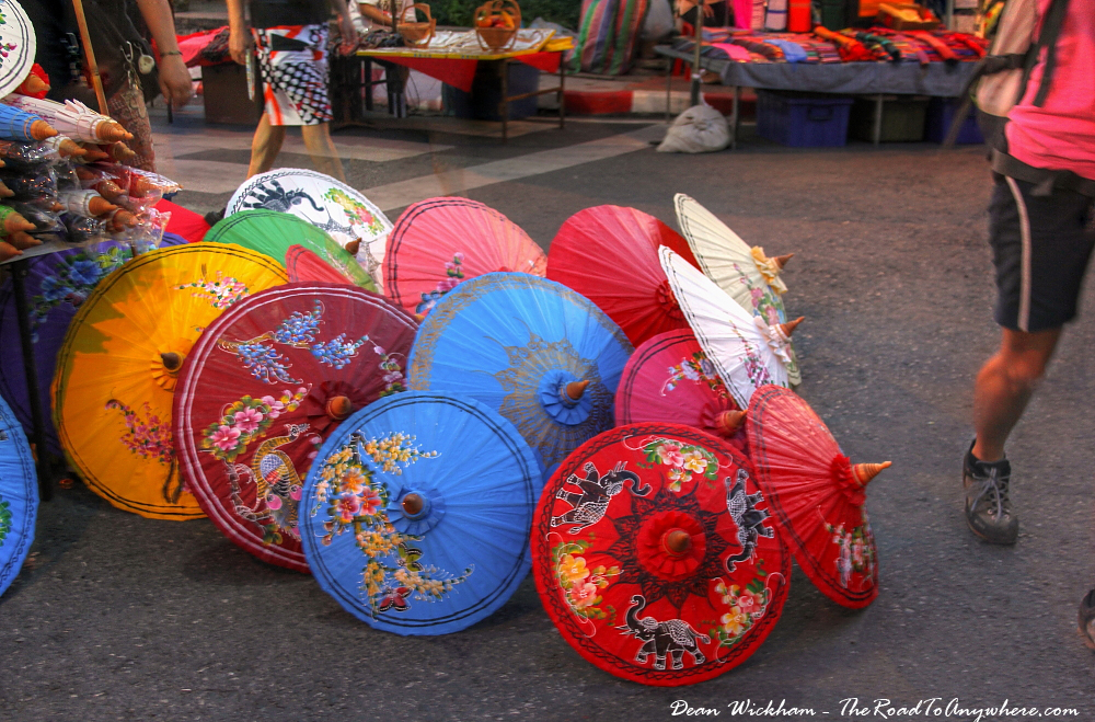 Umbrellas for sale at the Sunday Market in Chiang Mai, Thailand