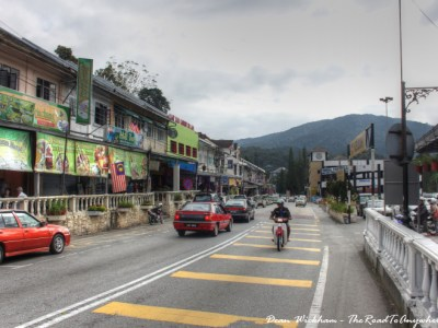 The main street in Tanah Rata in the Cameron Highlands, Malaysia