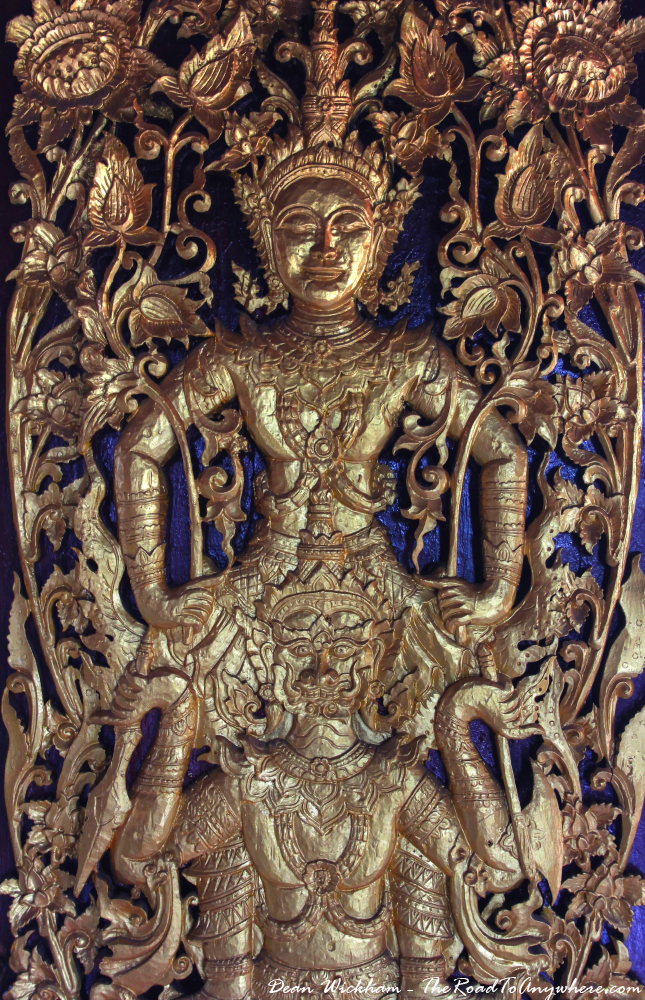 Details on the door at Wat Monthian in Chiang Mai, Thailand