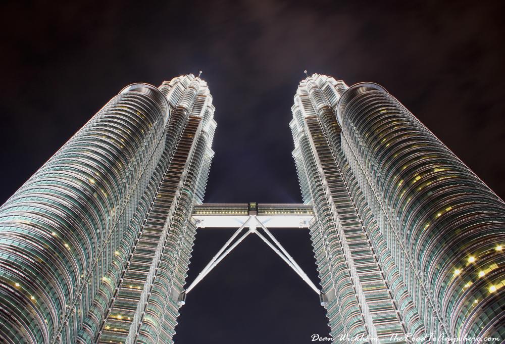 The Petronas Towers at night in Kuala Lumpur, Malaysia