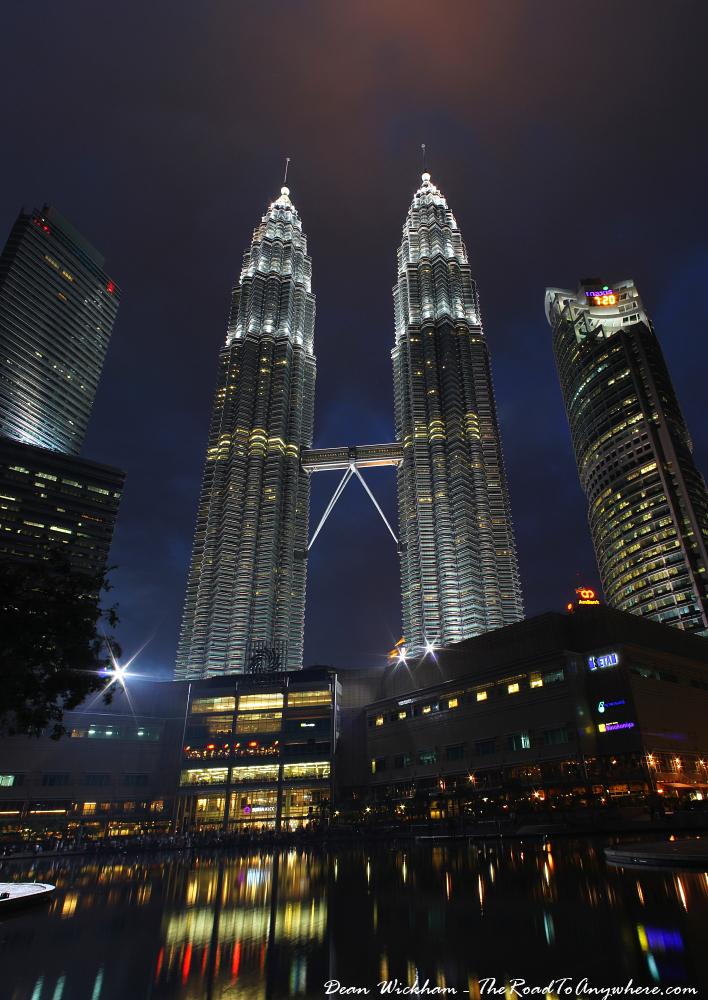 Night view of the Petronas Towers in Kuala Lumpur, Malaysia