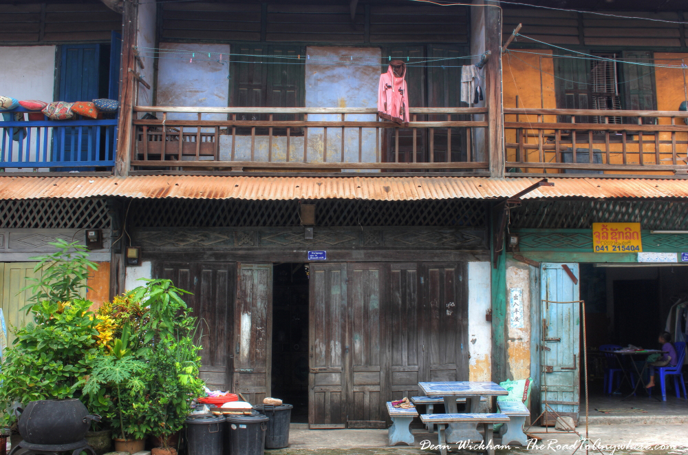 Old shopfronts in Savannakhet, Laos