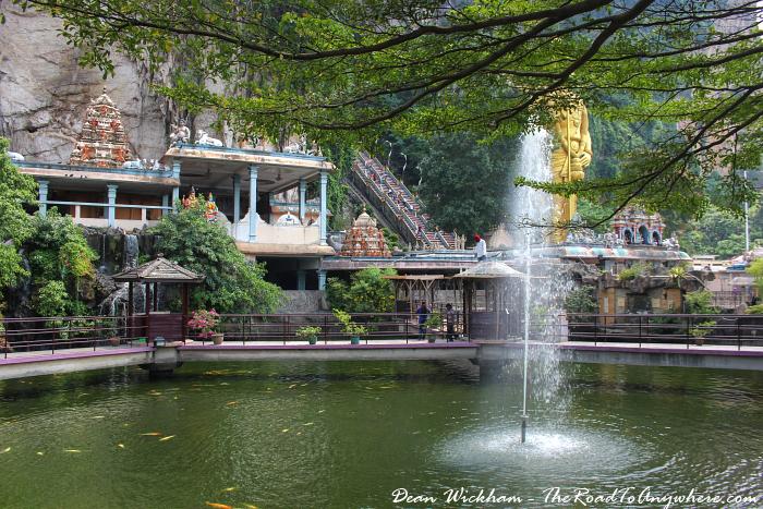 Pond a fountain at Batu Caves in Kuala Lumpur, Malaysia