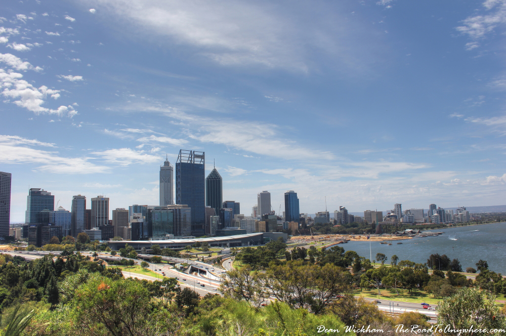 View of Perth City in Kings Park in Perth, Western Australia