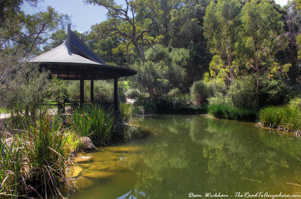 Pond and gazebo in Kings Park in Perth, Western Australia