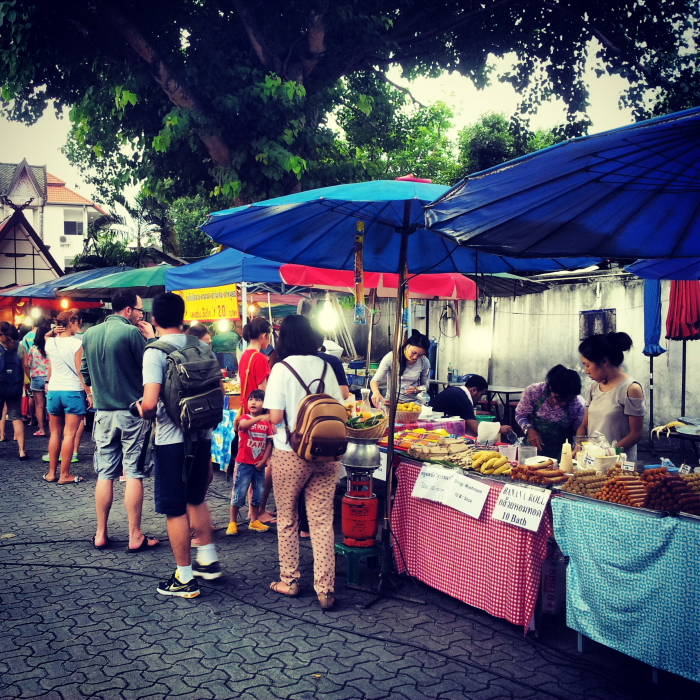 Food stalls at the Sunday Market in Chiang Mai, Thailand
