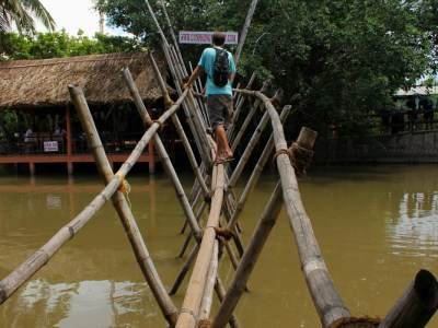 Bamboo footbridge in the Mekong Delta, Vietnam